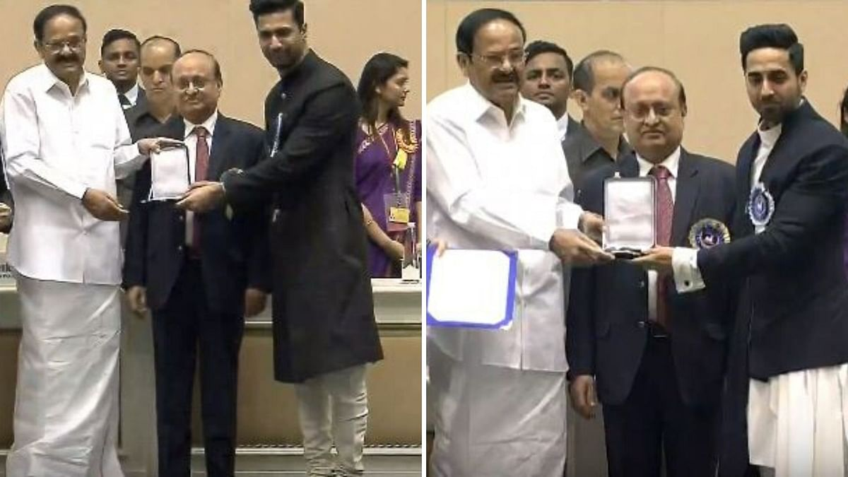 66th National Film Awards Winners List 2019: Ayushmann Khurrana and Vicky Kaushal at the 66th National Film Awards.