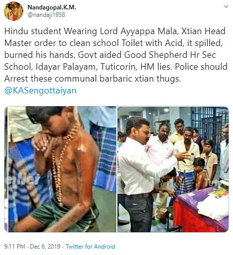 Fake! RSS Mag Says Christian School Punished Boy For Ayyappa Dress