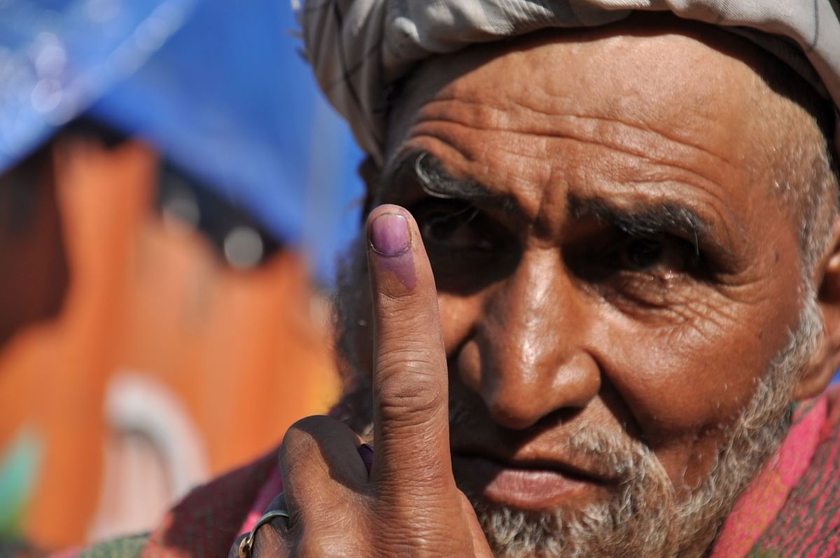 An elderly man votes in Lok Sabha elections 2019 in Kulgam district.