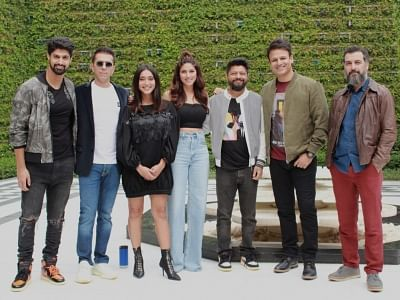 New Delhi: Actresses Sapna Pabbi, Sayani Gupta, Aamir Bashir, producer Ritesh Sidhwani, director Karan Anshuman during a press meet to promote Amazon Prime