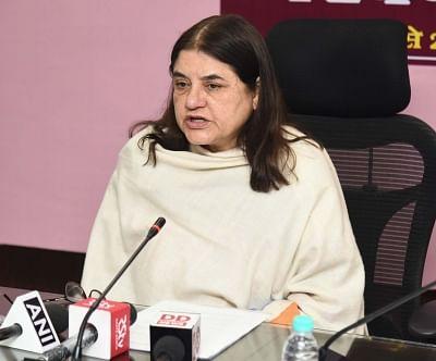 New Delhi: Union Women and Child Development Minister Maneka Gandhi addresses a press conference on Poshan Abhiyan, in New Delhi, on March 1, 2019. (Photo: IANS/PIB)