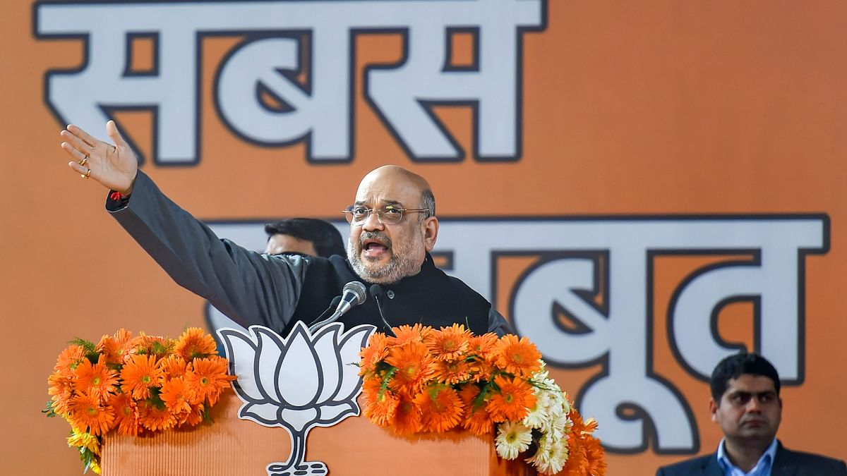 Union Home Minister Amit Shah speaks during BJP's booth-level workers rally in New Delhi.