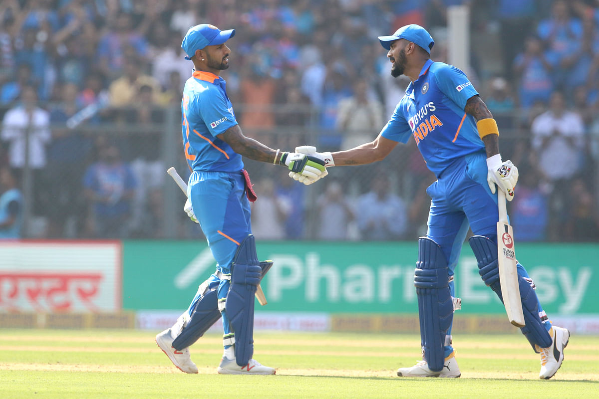 KL Rahul (right) congratulates Shikhar Dhawan for scoring a fifty during the 1st One day International match between India and Australia held at the Wankhede Stadium, Mumbai on the 14th Jan 2020.