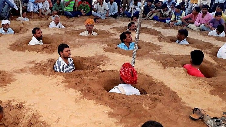 Over 50 farmers have participated in the protest in Rajasthan.