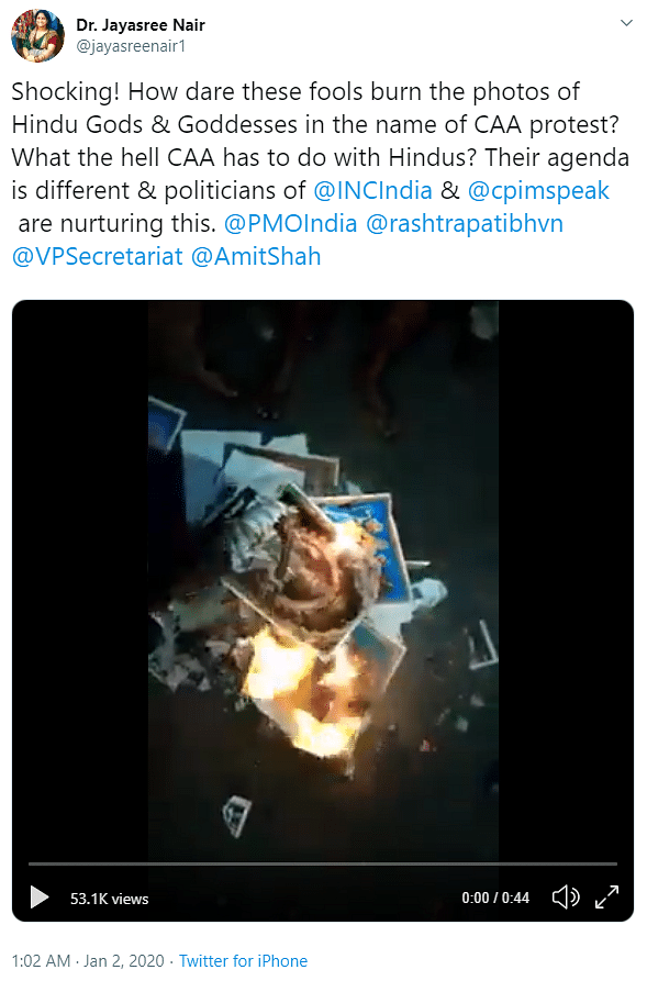 Old Video Reposted as CAA Protesters Burning Photos of Hindu Gods
