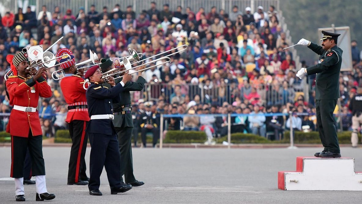 A file photo of the Beating Retreat rehearsal ceremony at Vijay Chowk in New Delhi.