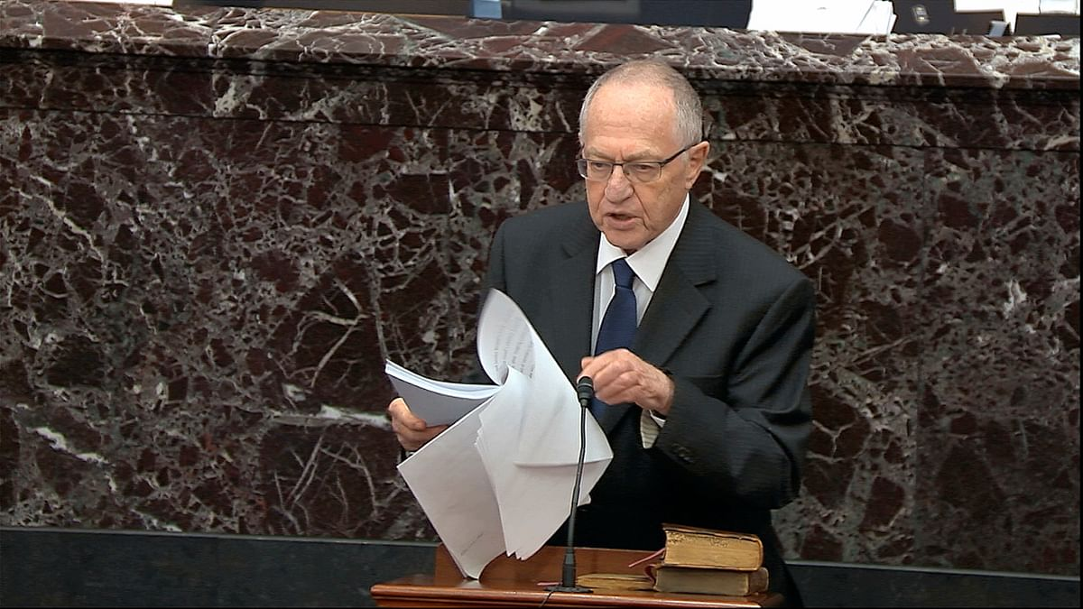 In this image from video, Alan Dershowitz, an attorney for President Donald Trump, speaks during the impeachment trial against Trump in the Senate at the US Capitol in Washington, Monday, 27 January.