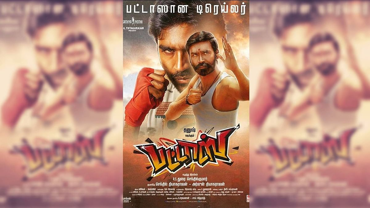 Dhanush in a poster for <i>Pattas</i>.