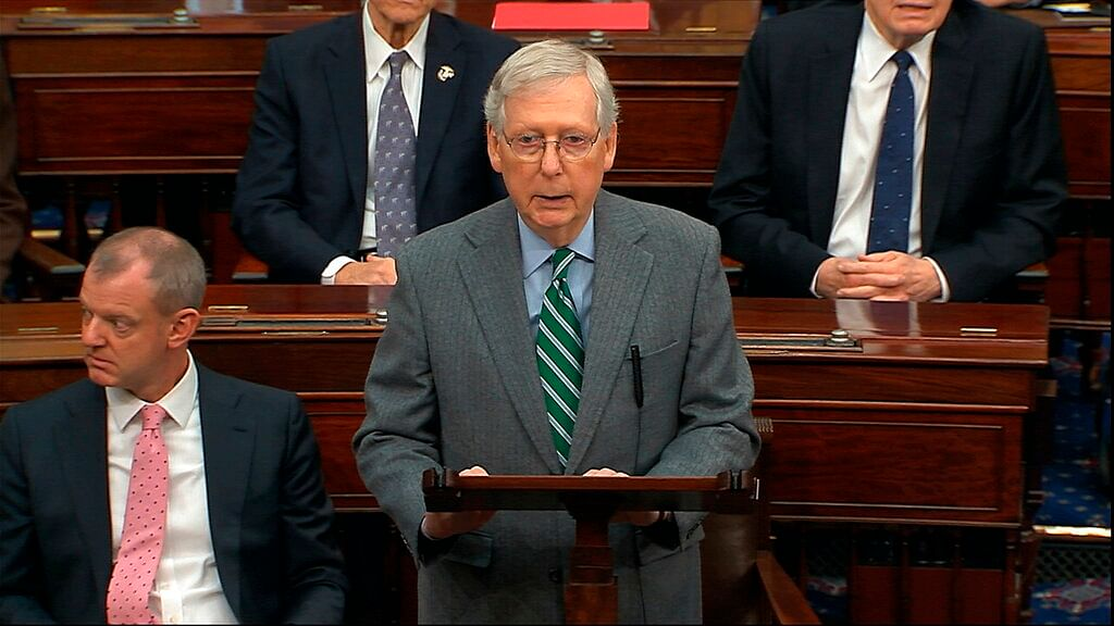 Senate Majorty Leader Mitch McConnell speaks as the impeachment trial against President Donald Trump begins in the Senate at the US Capitol in Washington, Thursday,  16 January 2020.