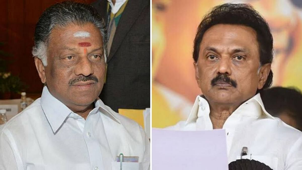 Former TN Chief Minister O Panneerselvam and DMK leader MK Stalin.