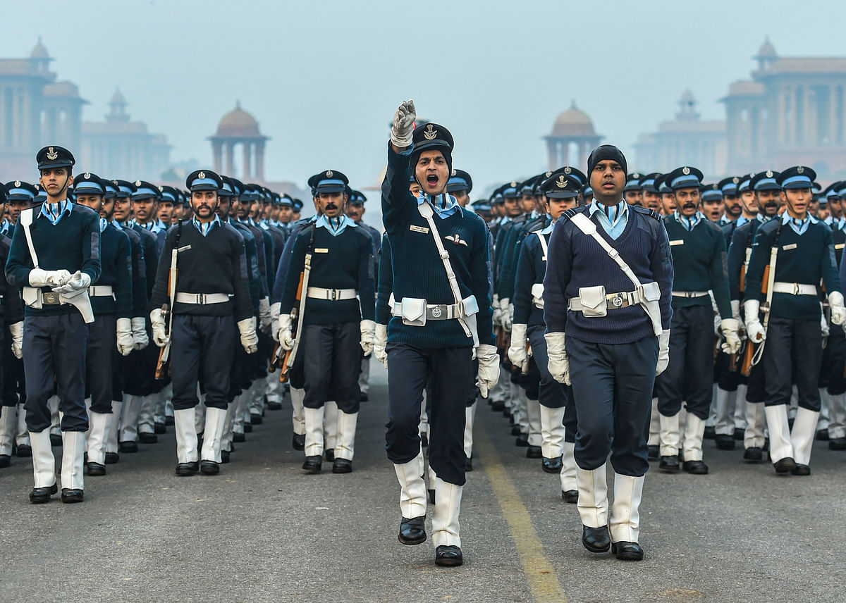 Indian Air Force personnel during the rehearsal for the upcoming Republic Day parade, on a cold, winter morning at Rajpath in New Delhi, on Friday, 10 January.