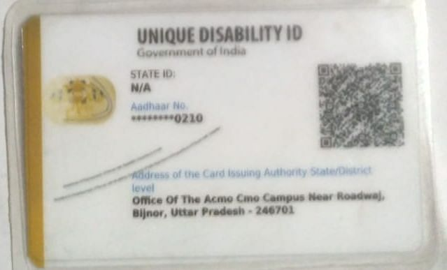 Unique Disability identity card of Ramesh Singh mentions that he has 40 per cent disability.