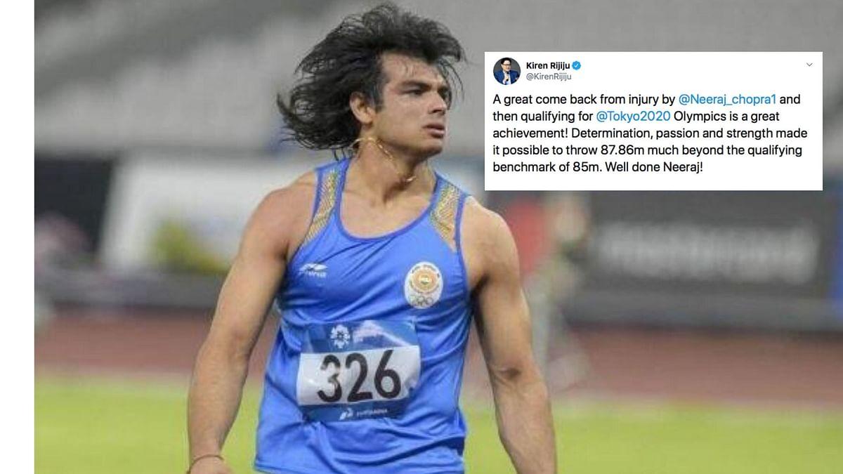 Kiren Rijiju Congratulates Neeraj Chopra on Sealing Olympic Berth