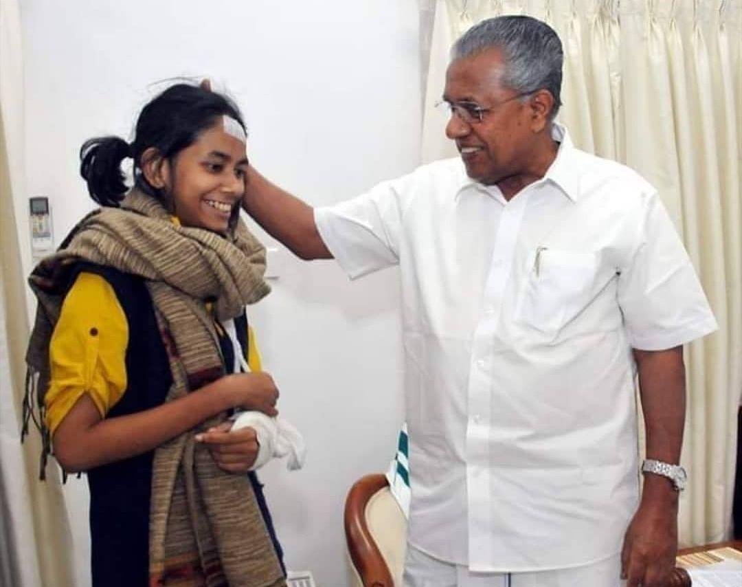 JNUSU President Aishe Ghosh meets Kerala CM Pinarayi Vijayan.