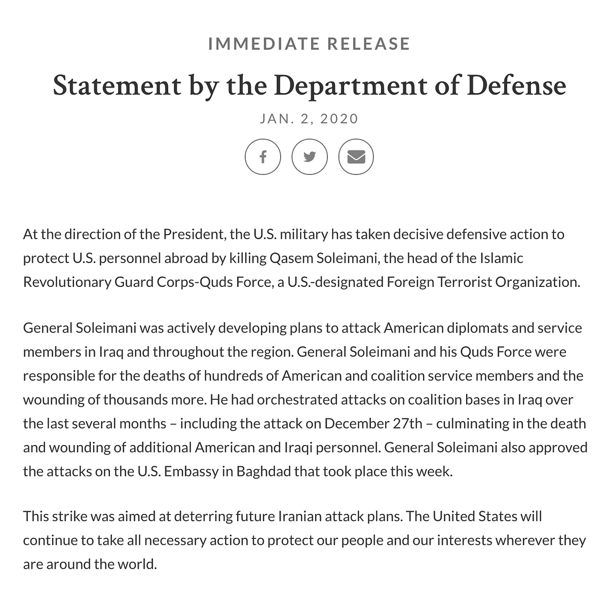 Statement by the Pentagon.