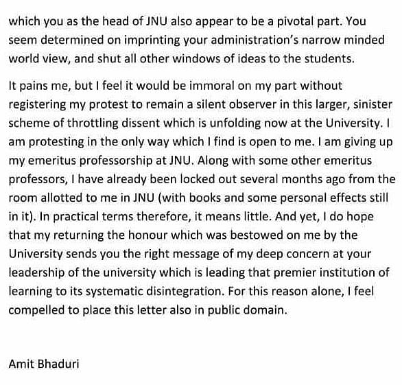 Page one of Amit Bhaduri's letter.