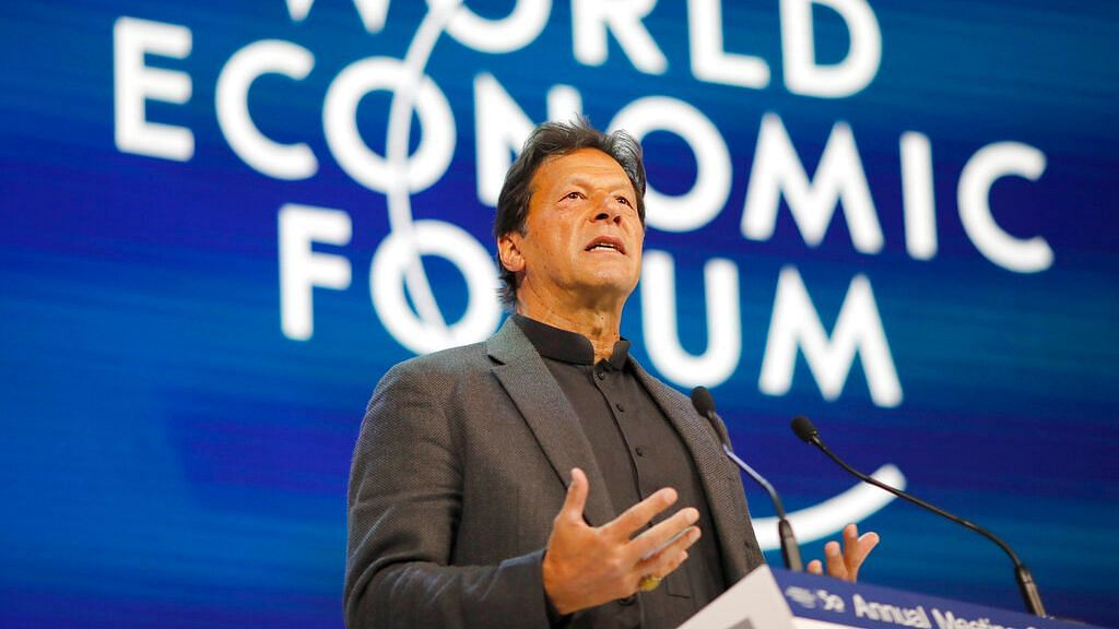 Pakistan's Prime Minister Imran Khan addresses the World Economic Forum in Davos, Switzerland, Wednesday,  22 January 2020