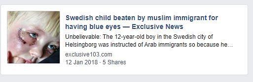 Swedish Child Beaten by Muslim Immigrants? No, It's False News