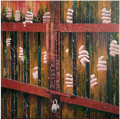 'Nazarband', a painting by artist Shubhra Chaturvedi.