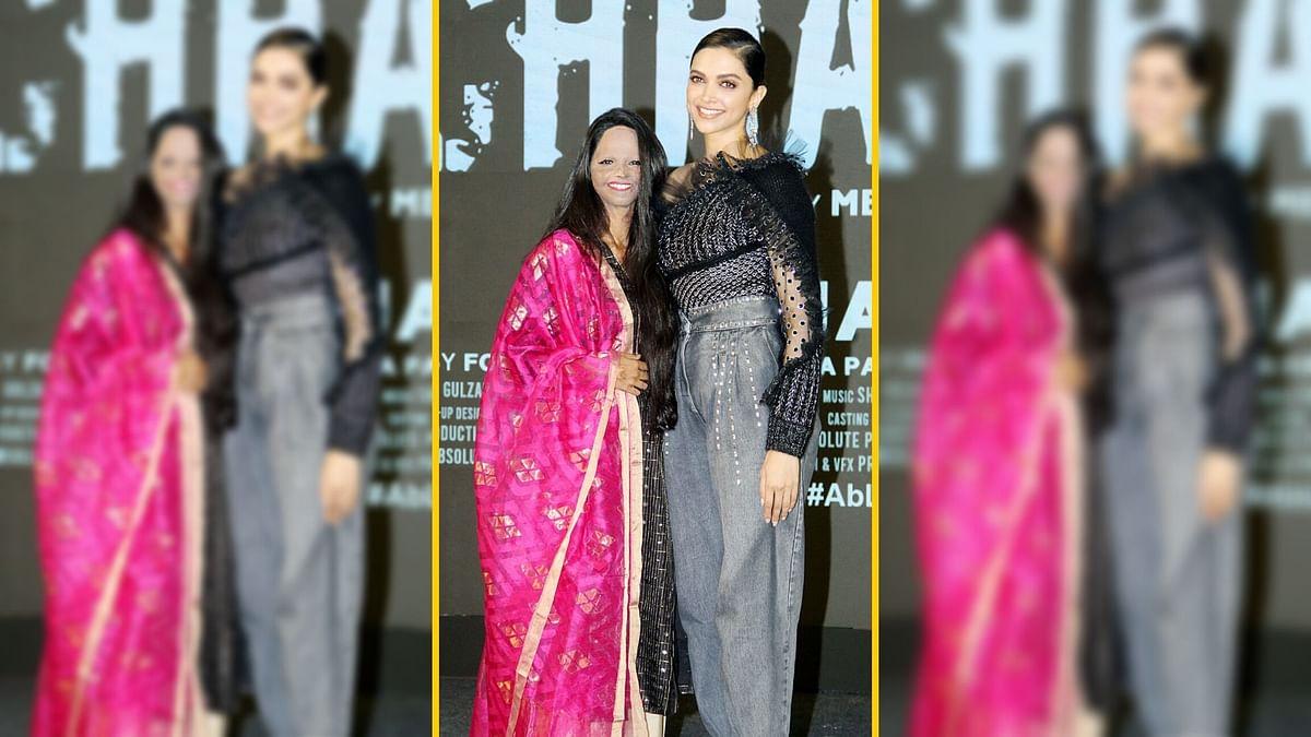 Deepika Padukone with Laxmi Agarwal at <i>Chhapaak</i> title track launch.