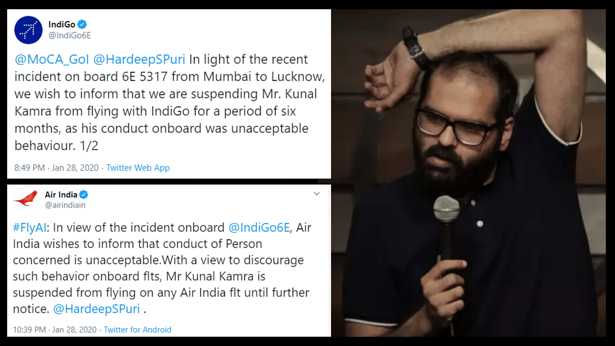 Indigo and Air India have suspended Kunal Kamra from boarding their flights.