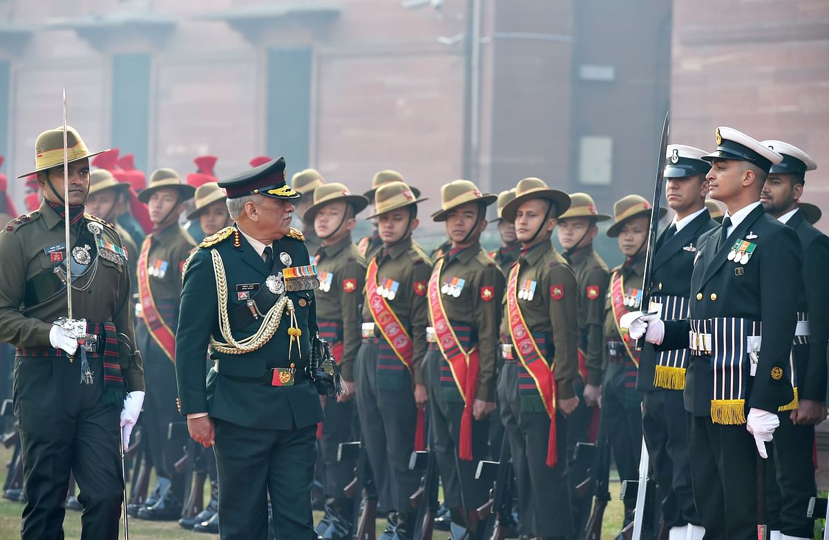 Indias first Chief of Defence Staff (CDS) Gen Bipin Rawat inspects the Guard of Honour at South Block lawns in New Delhi.