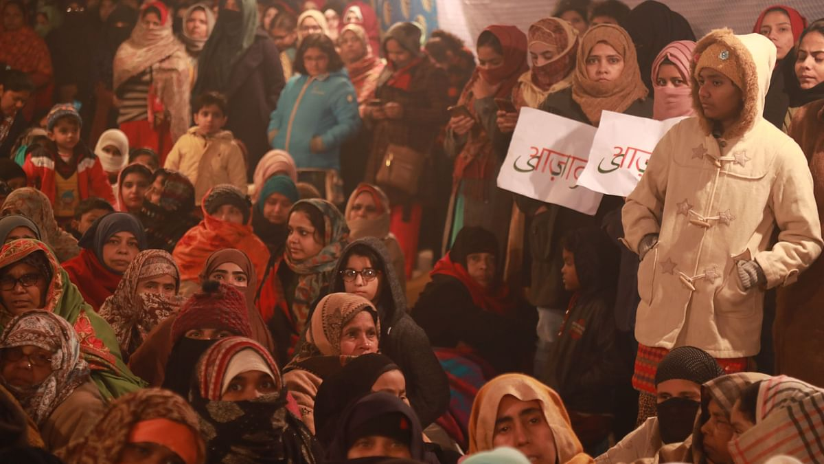 Women usher in the new year protesting against CAA and NRC at Shaheen Bagh, in Delhi.