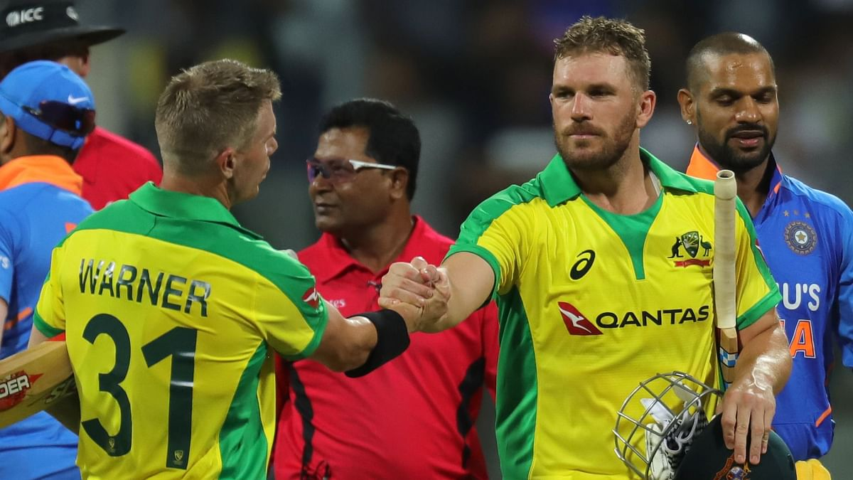 David Warner and Aaron Finch celebrate as Australia win the first ODI between India and Australia held at the Wankhede Stadium, Mumbai on the 14th Jan 2020.