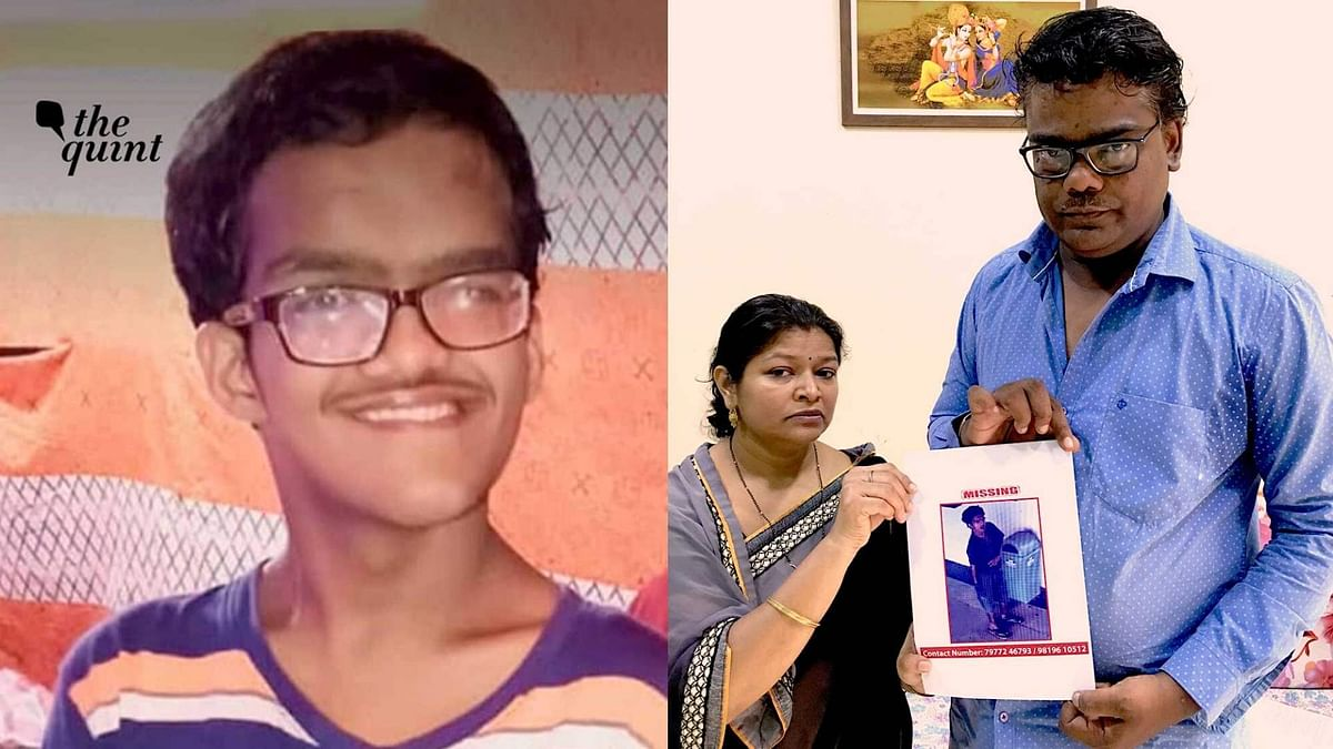 Tarun Gupta (left); his parents hold a poster of him (right).