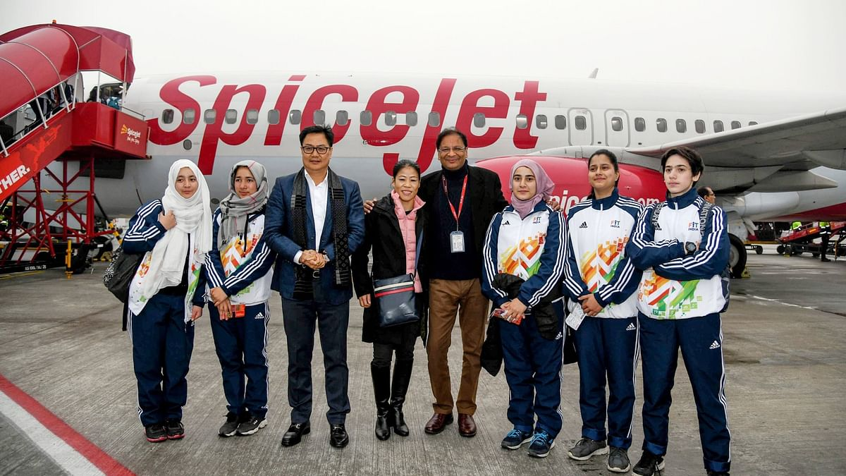 At the send-off ceremony of the athletes at the Indira Gandhi International Airport on Wednesday, Sports Minister Kiren Rijiju was present along with London Olympic bronze medallist Mary Kom.