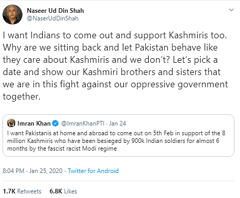 Naseeruddin Shah Didn't React to Pak PM's Tweet, A Fake Handle Did