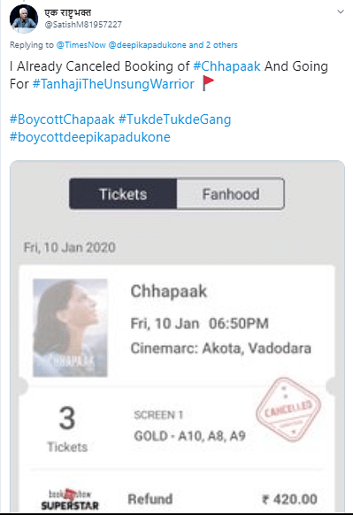 Several 'Cancel' 'Chhapaak' Bookings, But For the Same 3 Seats