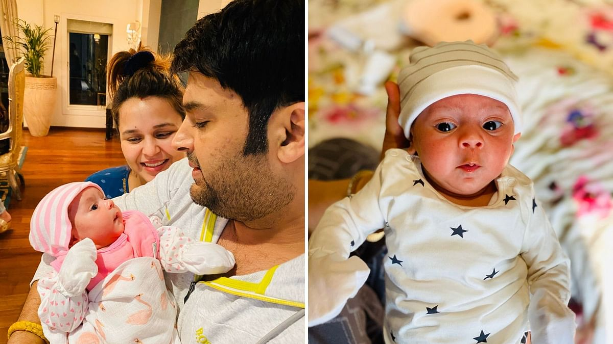 Kapil Sharma and Ginni with their daughter.