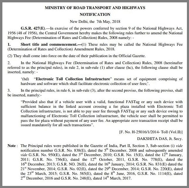 The NHAI notification dated 7 May 2018.