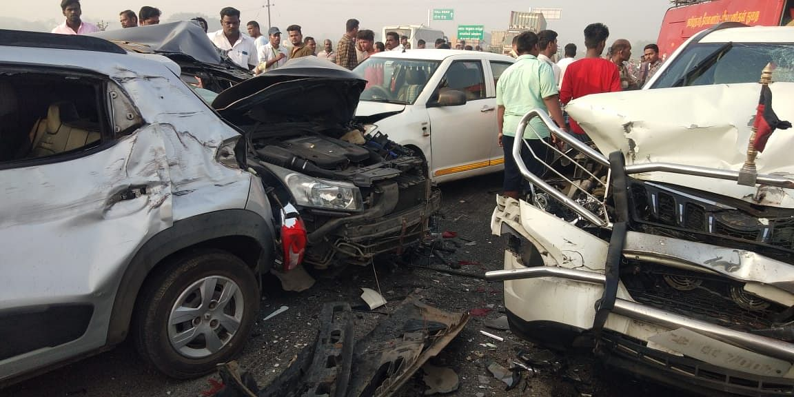 Three trucks, a mini-truck and six cars were damaged in the accident.