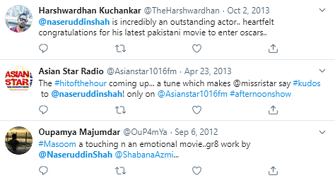 Twitter search result showed tweets dating back to 2012 with the handle's name being @NaseruddinShah.