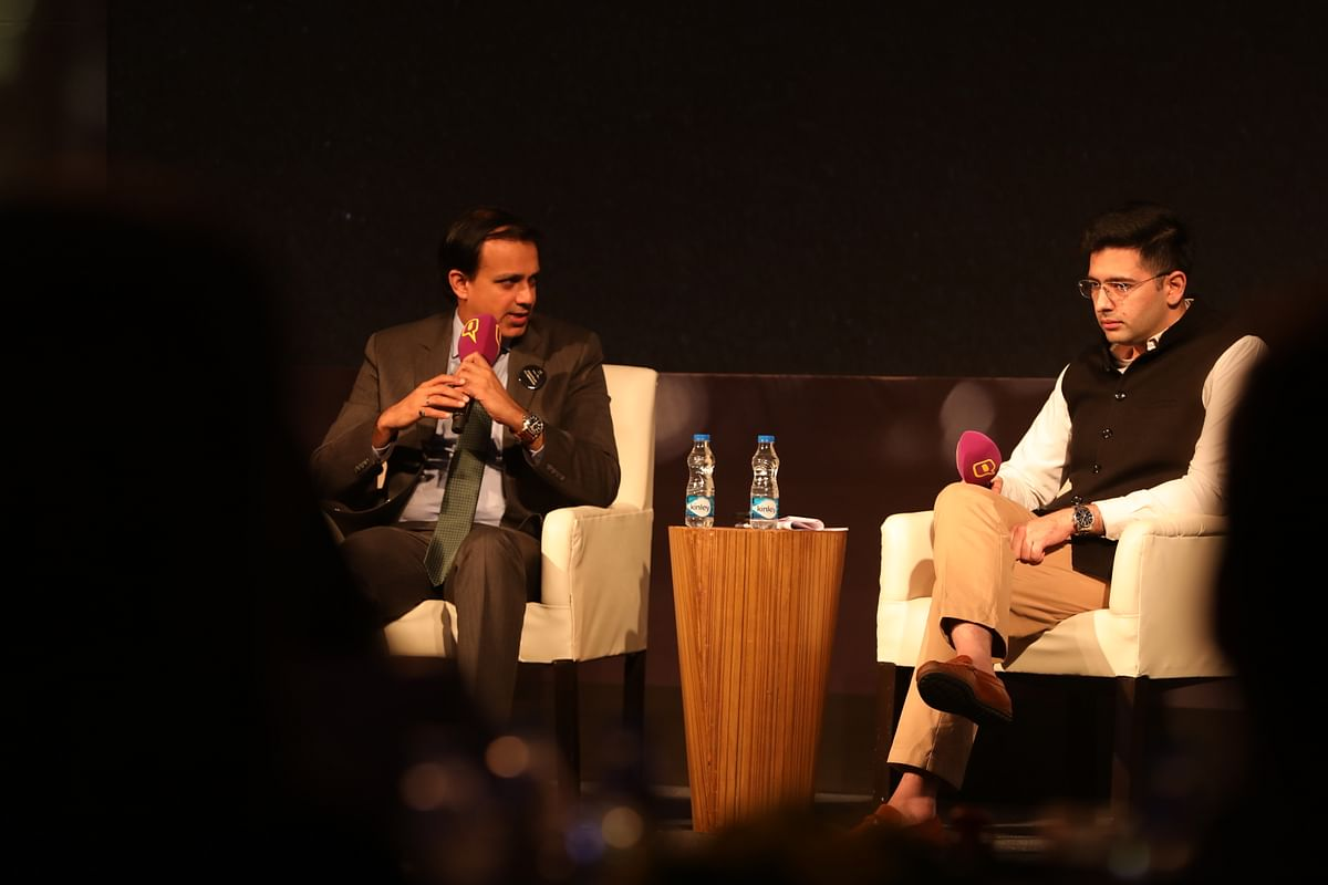 Dinker Vashisht, Head Corporate Affairs: South Asia with Raghav Chadha, National Spokesperson of Aam Aadmi Party at 'Safer Roads for Safer Lives' event on December 3.
