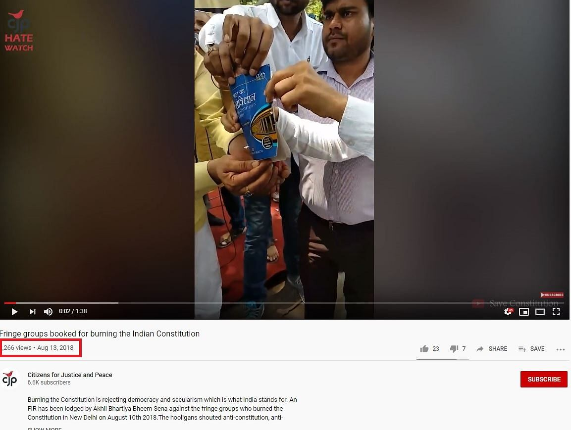 RSS Workers Burning the Constitution? No, Video Is Old & Unrelated