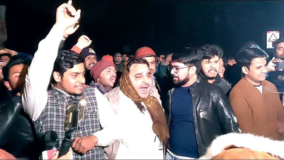 Some goons were intimidating the women students and protesters outside JNU.