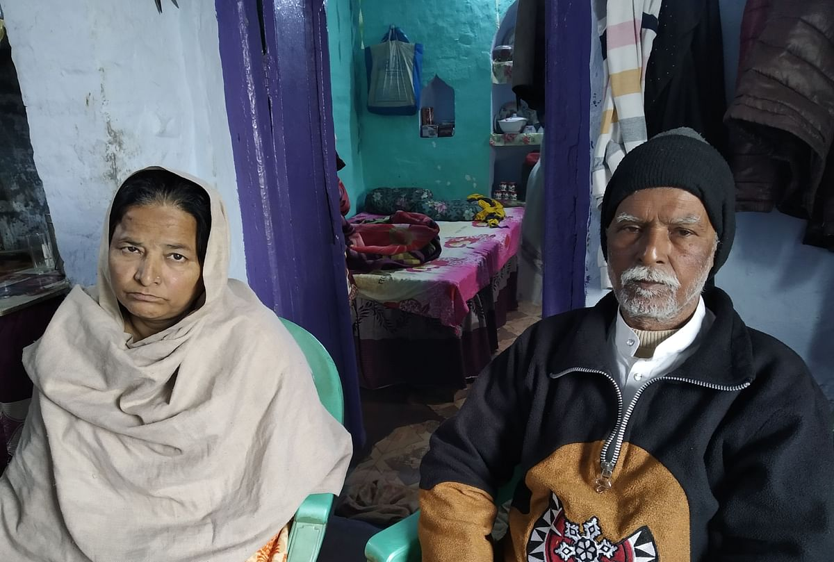 Saif's mother, Qamar Jahan and father Mohammed Taqi at their house in Babupurwa in Kanpur. Saif had stepped out to give lunchbox to his elder brother.