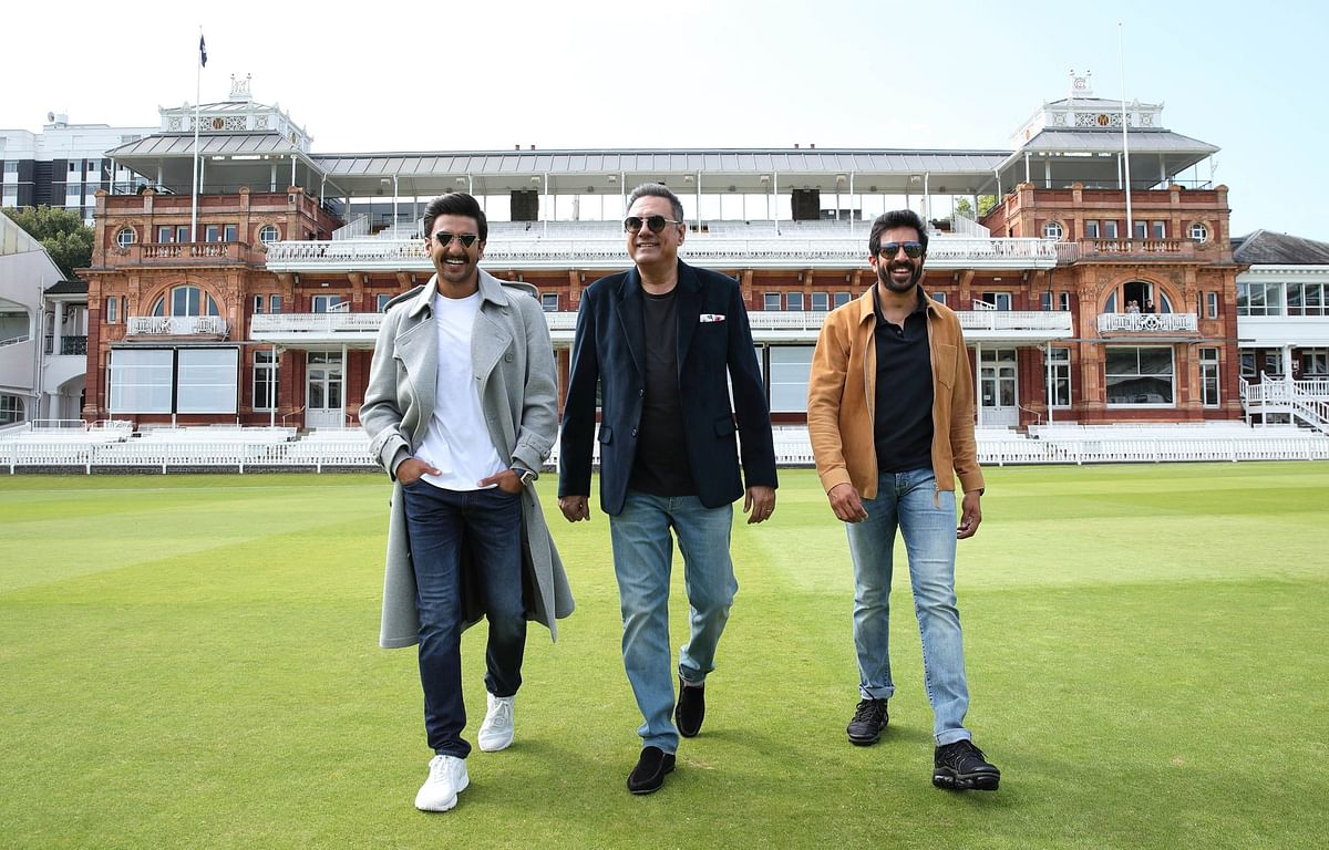 Ranveer Singh, Boman Irani and Kabir Khan at the Lord's cricket ground.