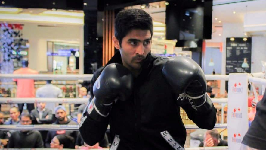 Vijender Singh during a training session.
