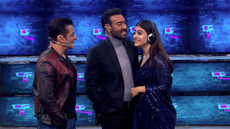 Salman Khan with Ajay Devgn and Kajol on <i>Bigg Boss 13.</i>