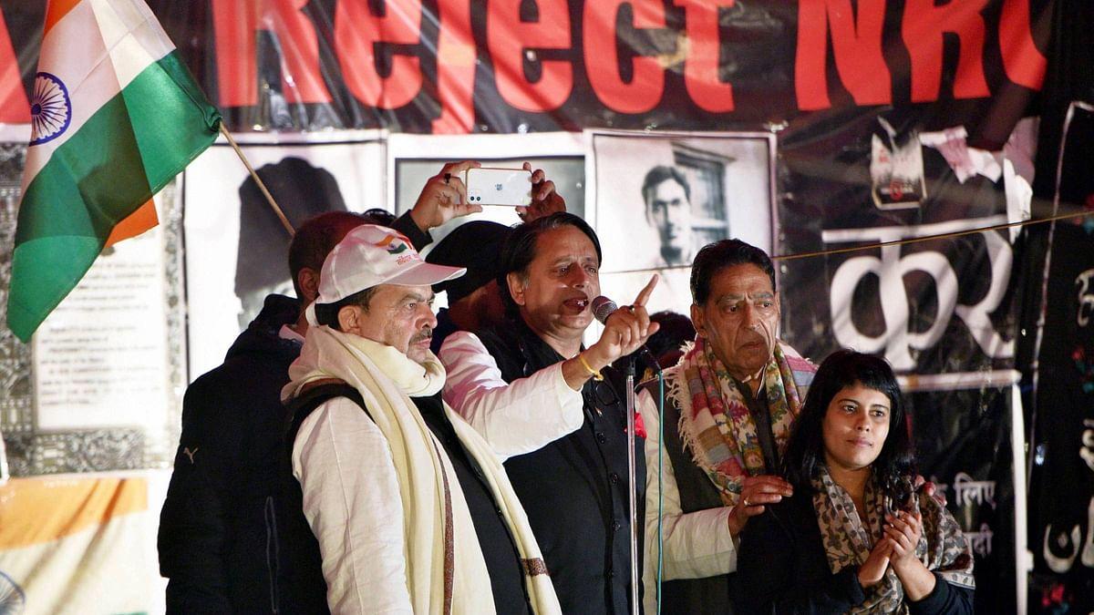 Congress MP Shashi Tharoor at a protest against Citizenship (Amendment) Act at Shaheen Bagh.