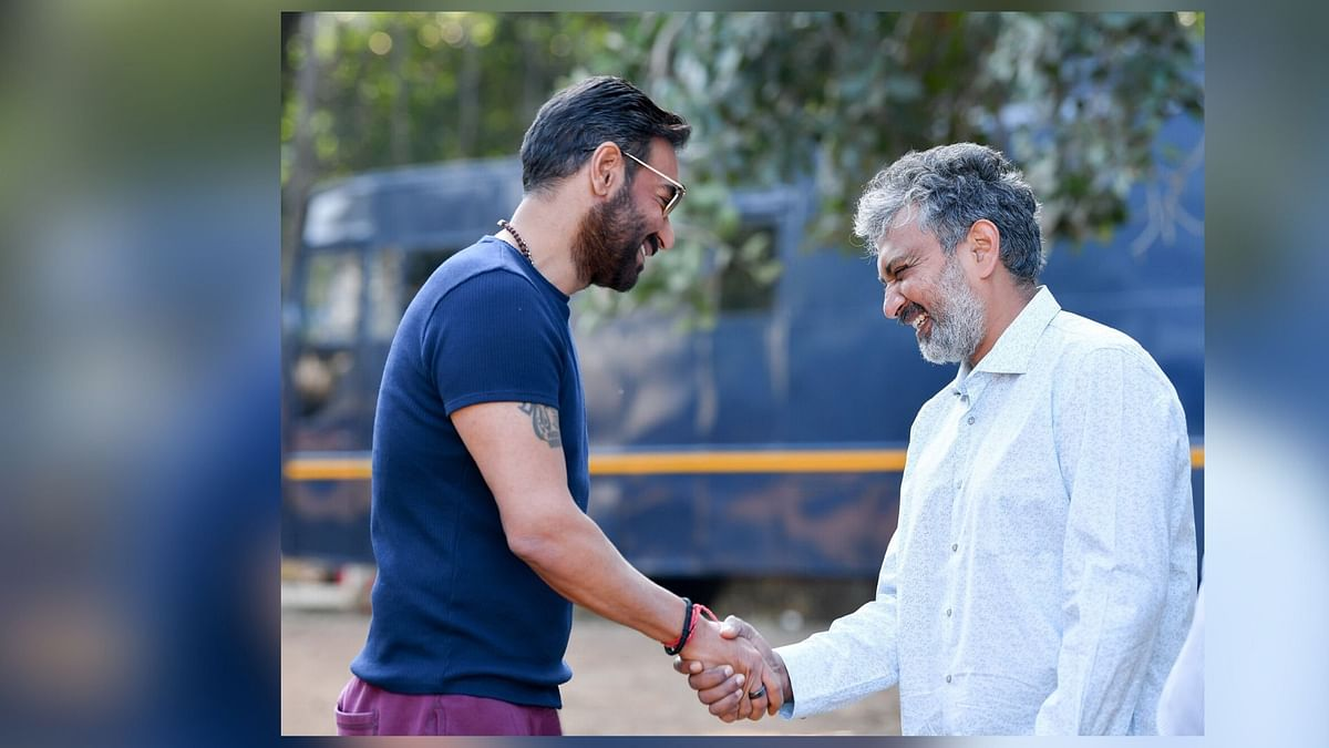 Ajay Devgn and SS Rajamouli on the sets of <i>RRR</i>.