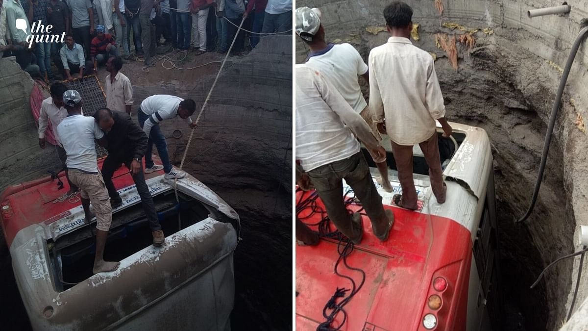A bus and a rickshaw fell into a well after ramming into each other, in Deola area of Nashik.