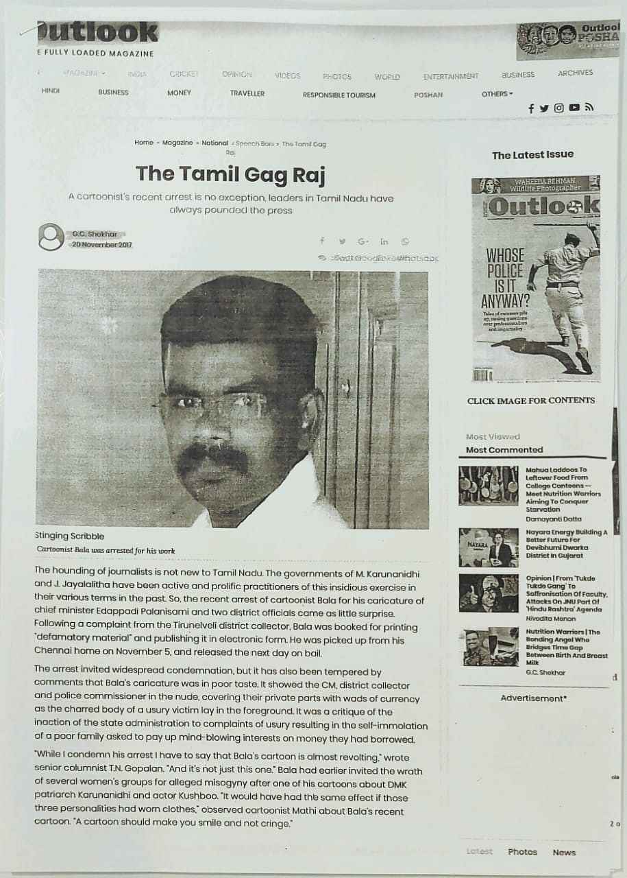 Rajinikanth showed this <i>Outlook</i> article to substantiate his claim.