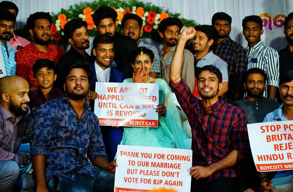 Sudev and Hyma's cousins and friend joined them in their protest against CAA and NRC