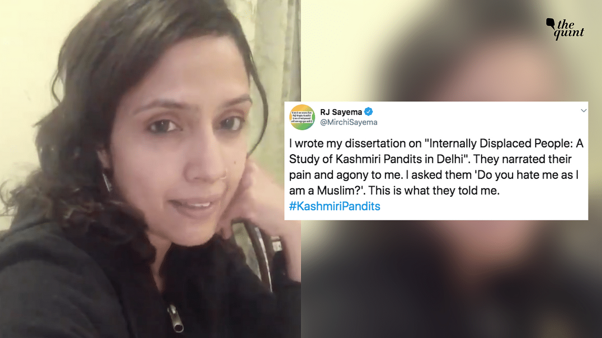 In her video, RJ Sayema talked about her interactions with displaced Kashmiri Pandit families living in Delhi.