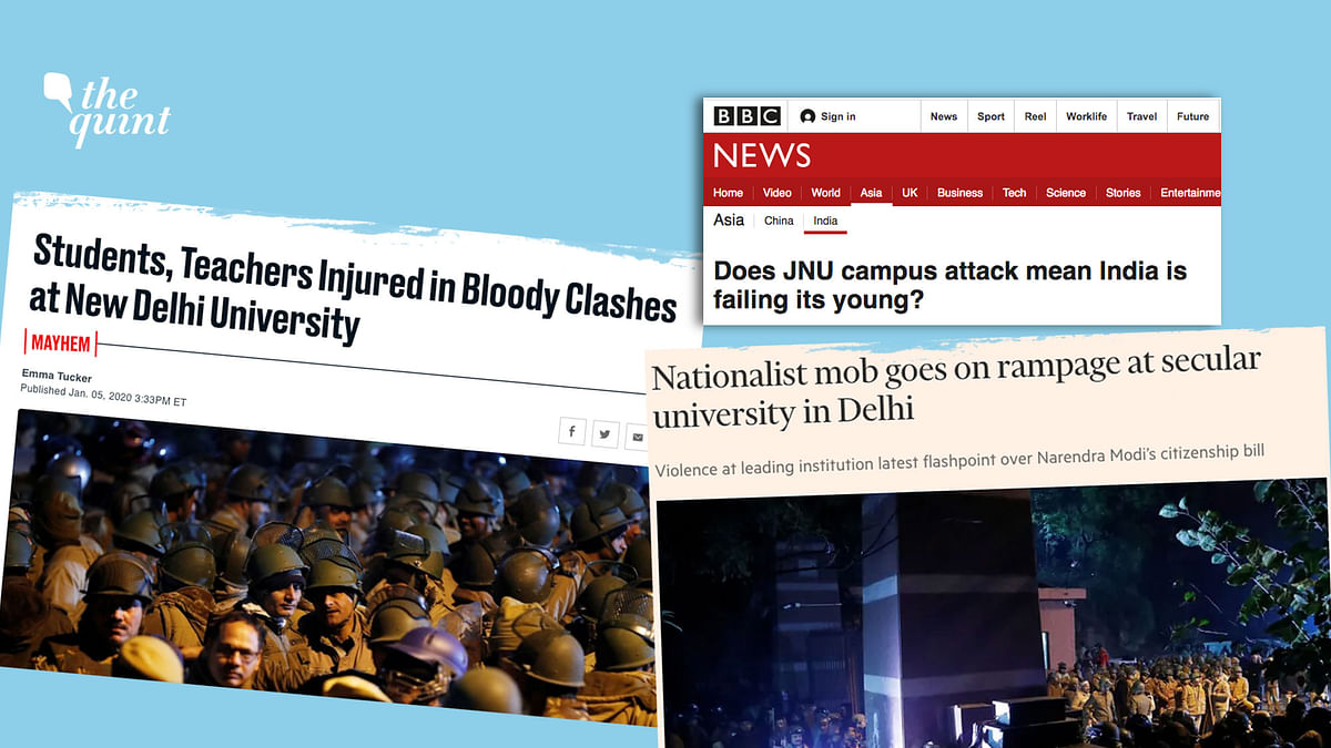How did foreign media see the unprecedented attacks amid police inaction in one of India's premier universities?